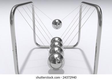 A closeup 3D render of Newtons Cradle