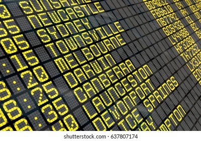 Close-up of an airport departure board to Australian cities destinations, with environment reflection. Part of a series.