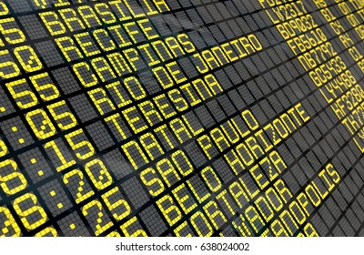 Close-up of an airport departure board to Brazilian cities destinations, with environment reflection. Part of a series.