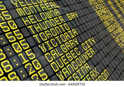 Close-up of an airport departure board to Canadian cities destinations, with environment reflection. 3D rendering and part of a series.