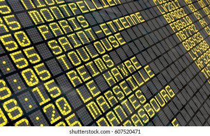 Close-up of an airport departure board to French cities destinations, with environment reflection.Part of a series.
