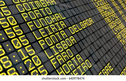 Close-up of an airport departure board to Portuguese cities destinations, with environment reflection. Part of a series.
