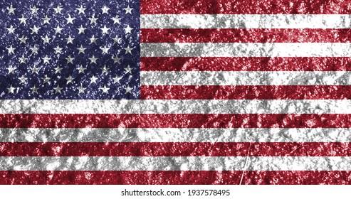Close-up of American flag, 3d illustration