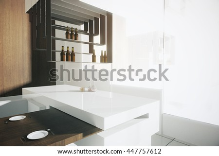 Closeup Of Bar Stand In Luxurious Kitchen Interior With Dining Area Wooden Wall Tile