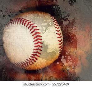 Closeup of a baseball and mitt transformed into a colorful digital painting