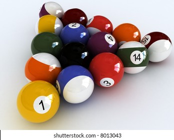 close-up billiard balls.  isolated over white View other images from this series in my portfolio: