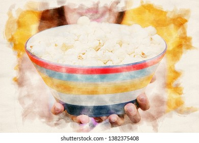 close-up of a bowl of popcorn in watercolors