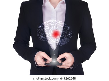Close-up of business women brain with tablet in hand on white background