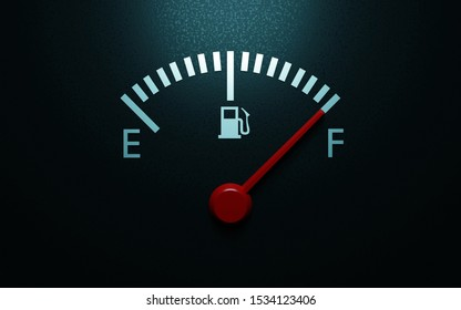 A closeup of a car fuel gauge. 3d render