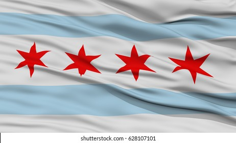 Closeup of Chicago City Flag, Waving in the Wind, Illinois State, United States of America