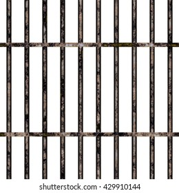 Closeup of colorful behind bars fence texture background, front view (Tiles seamless, High-resolution 3D CG rendering illustration)