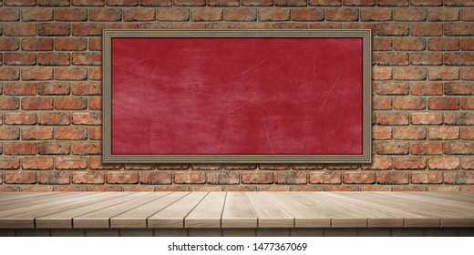 Closeup of colorful wooden platform and blackboard/chalkboard background, front view (High-resolution 3D CG rendering illustration)