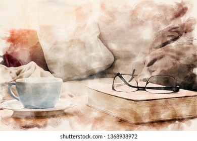 closeup of cup and book with eyeglasses on table in watercolors