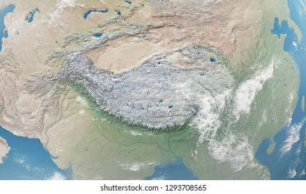 Close-up Detailed View on Tibetan Plateau from Space. Elements of this image furnished by NASA. 3D Rendering