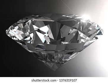 Close-up of diamond in dark background, Clear details with lens flare. 3D illustration. For Jewelry design concept .