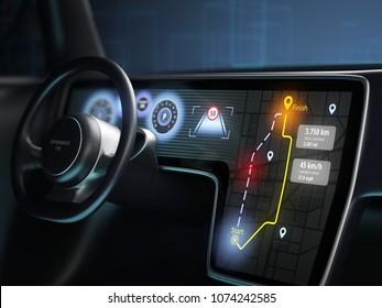 Close-up of digital dashboard of autonomous car, driverless car technology. 3D illustration.