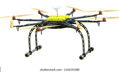 Close-up of a drone on white background. 3d illustration