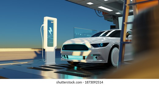 Closeup Electric car at futuristic  charging station. Selected focusing. Eco alternative transport and battery charging technology concept. Photorealistic 3D rendering.