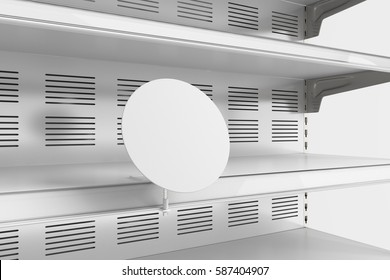 Closeup of empty refrigerator showcase shelves with blank label. 3d render