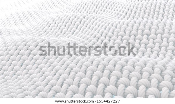 Close-up fabric fiber. Fibers with a spiral surface And that surface is a wave. 3D rendering