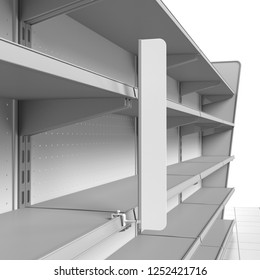 Closeup Of Flag Attached To Empty Set Of Shelves From Perspective View. 3D rendering