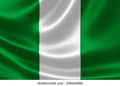 Close-up of the flag of Nigeria on satin texture.