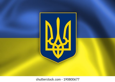 Closeup of the flag of the Ukraine, square image