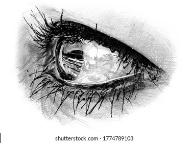 Close-up freehand graphite pencil drawing of a young woman's left eye beyond three-quarter profile. Eyelashes mascaraed with black mascara. Concept for healthy eyesight. Metaphor for beauty in art.