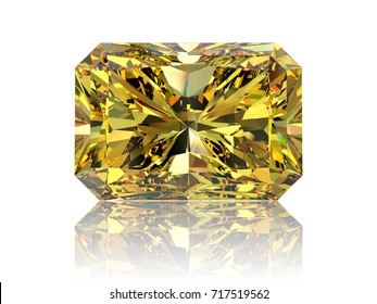 Close-up front  view of a bright yellow rectangle radiant cut diamond with light reflection, isolated on white background. 3D rendering illustration