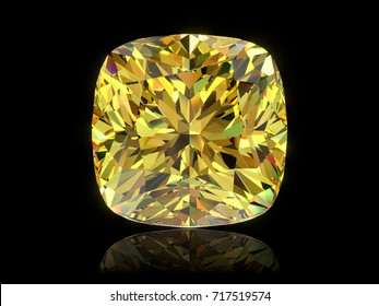 Close-up front  view of a bright yellow crushed ice cushion cut  diamond, isolated on black background. 3D rendering illustration