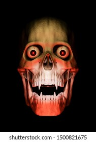 Closeup - front view of skull of vampire in red colors with eyes on black background - 3d render - Halloween concept