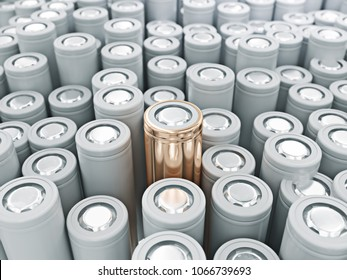 Closeup of gold pile of li-ion batteries. Close up colorful rows of selection of 18650 batteries energy abstract background of colorful batteries. 3d illustration