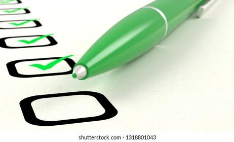 Closeup of green pen ticking a list of items 3D illustration