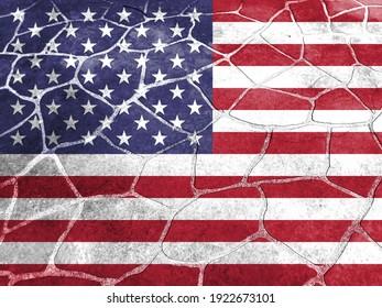 Closeup of grunge American flag, 3d illustration
