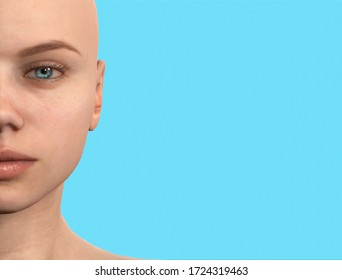 close-up half woman face. Woman with blue eyes .3d illustration of woman with blue background