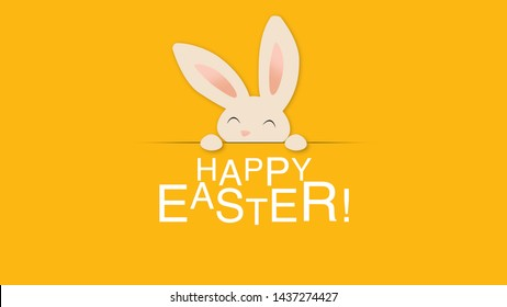 Closeup Happy Easter text and rabbit on yellow background. Luxury and elegant dynamic style template for holiday