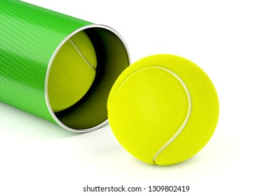 Close-up image of tennis balls on white background, 3D illustration