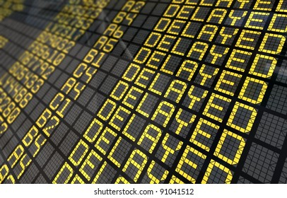Close-Up of an international airport board panel with all flights delayed