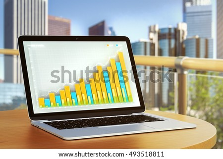 closeup laptop computer colorful business diagram stock illustration diagram of this computer closeup of laptop computer with colorful business diagram placed on balcony table with blurry city view