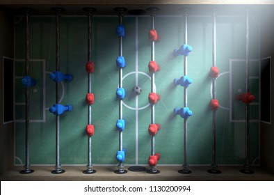 A closeup look of figurines of a foosball table lit by dramatic lighting - 3D render