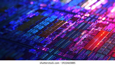 Close-up Macro of modern CPU Die Chip Processor on wafer for hi-tech background. Detail of Silicon Wafer Containing Microchips, CPU, GPU, CMOS. Iridescent lighting. 3D rendering