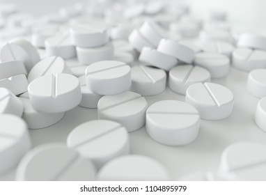 Close-up of a many medications on white background. - 3D Rendering