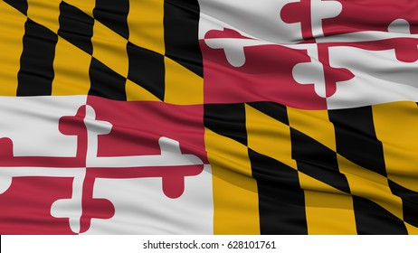 Closeup Maryland Flag on Flagpole, USA state, Waving in the Wind, High Resolution