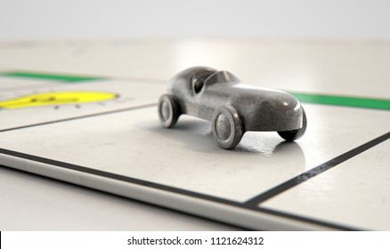 A closeup of a metal die cast car icon on a game board  - 3D render