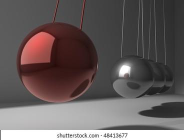 closeup of newton pendulum