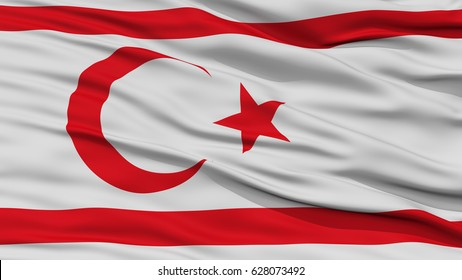 Closeup Northern Cyprus Flag, Waving in the Wind, High Resolution