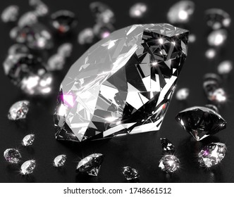 Close-up on a big shiny diamond surrounded by some little diamonds. 3d illustration