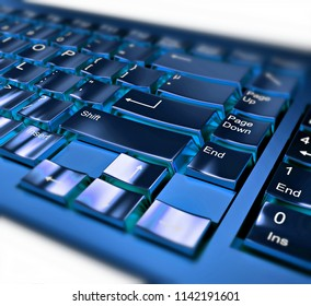 Close-up on a blue metallic keyboard on white background. 3d illustration