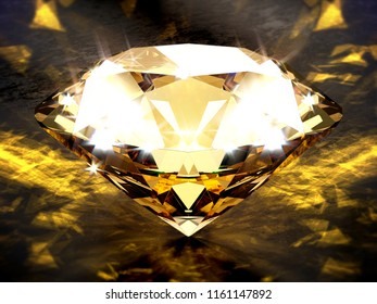 Close-up on a diamond on a black concrete plane with golden caustic light effects. 3d illustration