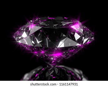 Close-up on a diamond on a semi glossy plane with pink reflection. 3d illustration
